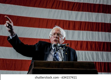 Topeka Kansas, February 25Th, 2017 Democratic Senator and past presidential candidate Bernie Sanders delivers the keynote speech at the Kansas State Democratic convention