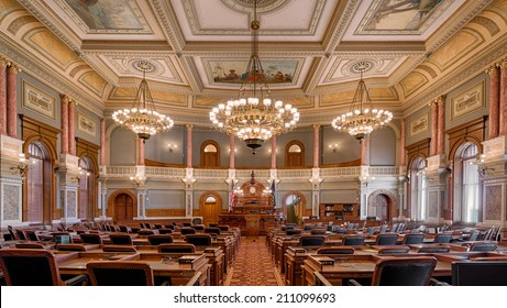 TOPEKA, KANSAS - JULY 23: House of Representatives chamber of the Kansas State Capitol building on July 23, 2014 in Topeka, Kansas