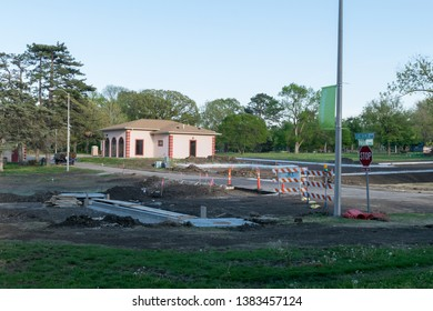 Topeka, Kansas / United States of America - April 28th 2019 : Gage park road construction