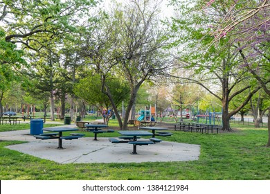 Topeka, Kansas / United States of America - April 28th 2019 : Gage Park Playground, across from the Zoo.