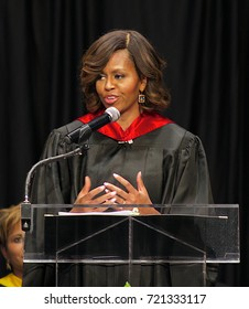 Topeka Kansas, USA, 16th May, 2014Mrs. Michelle Obama gives speech to the graduating classes of the Topeka public high schools at the Topeka Expo center