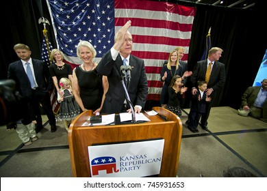 Topeka Kansas, USA, 4th November, 2014 Senator Pat Roberts with his wife Franki on the stage at election night victory party. Senator Roberts was re-elected tonight to another 6 years in the Senate