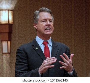 Topeka, Kansas, USA, February 16, 2019Congressman Roger Marshall (R-KS) speaking to his constituents from the 1st district at the annual GOP convention