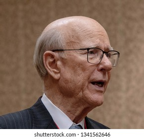 Topeka, Kansas, USA, February 16, 2019Senator Pat Roberts at the annual Kansas state GOP convention thanking constituents for voting him into office as a Senator for 24 years