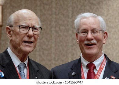 Topeka, Kansas, USA, February 16, 2019Senator Pat Roberts and Tom Arpke chairman of the 1st congressional district chat together during the annual Kansas state GOP convention