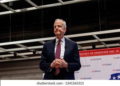 Topeka, Kansas, USA, February 16, 2019Senator Jerry Moran (R-KS) addresses the constituents at the annual GOP convention