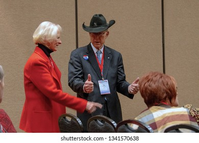 Topeka, Kansas, USA, February 16, 2019 Senator Pat Roberts wearing a cowboy hat at the annual Kansas state GOP convention thanking constituents for voting him into office as a Senator for 24 years.