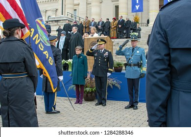 Topeka, Kansas, USA, January 14, 2019  Governor Kelly swears in General Lee Tafanelli of the Kansas Army National guard  and Colonel Mrk Bruce as the Superintendent ot the highway patrol