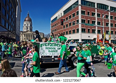 Topeka, Kansas, USA, March 15, 2014The annual St. Patricks day parade in Topeka Kansas process south down Kansas Ave. and passes in front of the State Capital building.