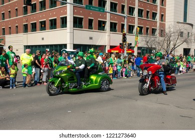 Topeka, Kansas, USA, March 15, 2014 The annual St. Patricks day parade in Topeka Kansas process south down Kansas Ave. and passes in front of the State Capital building.