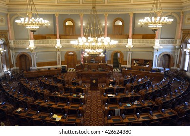 TOPEKA, KANSAS, USA - May 13, 2016: The Kansas state capitol building House of Representatives Chamber. The lower house of the state legislature meets here during an annual 90 day session.