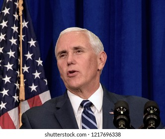 Topeka Kansas, USA, October 19, 2018 Vice-President Mike Pence speaks to supporters at a fundraiser for Republican congressional candidate Steve Watkins