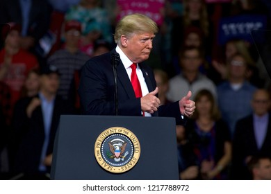 Topeka Kansas, USA, October 6, 2018President Donald Trump at MAGA rally in support of Kansas Secretary of State Kris Kobach who is the Republican candidate for governor.