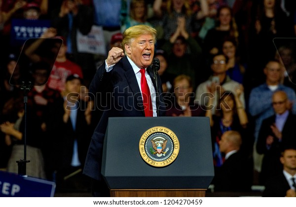 Topeka Kansas, USA, October 6, 2018President Donald Trump at rally in support of Kansas Secretary of State Kris Kobach who is the Republican candidate for governor.