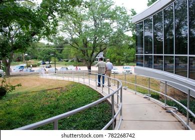 Topeka, KS / USA - August 26 2010: Men walking around university campus