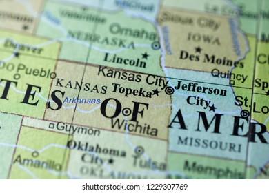 Topeka. USA on a geography map