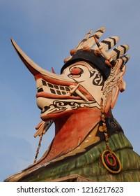 Topeng Hudoq Dayak Tribe, this dayak hudok mask for traditional dance. Borneo East Kalimantan, Tenggarong, October 2018 Indonesia.