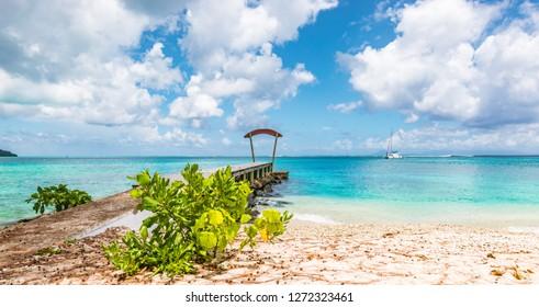 Topical beach, Huahine Island, French Polynesia,