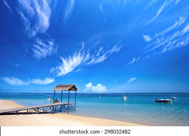 Topical beach in Mauritius Island