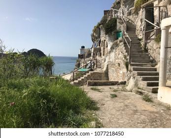 Topical house-caves on Palmarola island