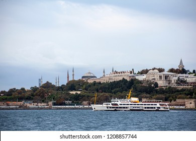 Topkapi Palace and Bosphorus. Passenger ferry in the foreground. Topkapı Palace is an imperial work. The settlement goes back to the first age. It is well known that the Bosphorus is here.