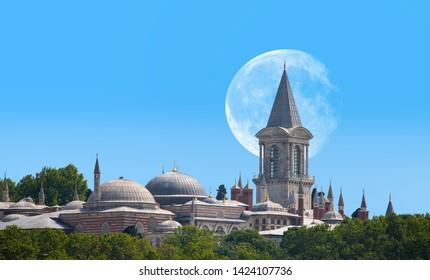 """Topkapi Palace with full moon - Istanbul Turkey """"Elements of this image furnished by NASA """""""
