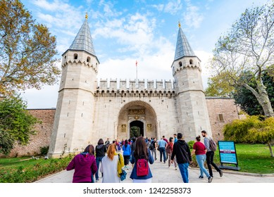 Topkapi Palace Museum, Istanbul, Turkey, Octorber 13, 2018 : People are walking into the gate of Topkapi Palace.