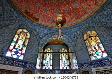 Topkapi palace : September 13,2018 - a stunning interior with beautiful stained-glass windows inside Topkapi palace, Istanbul ,Turkey.