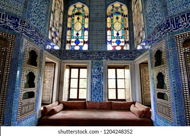 Topkapi palace - September 13,2018 : a stunning interior with beautiful stained glass window inside  Topkapi palace,  Istanbul, Turkey.