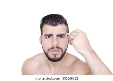 Topless Male Nurse Injecting Botox into His Forehead