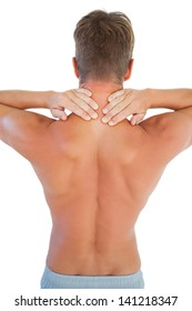 Topless man having a neck ache on white background