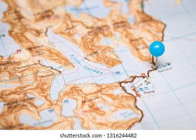topographic map labels - lofoten islands in norway