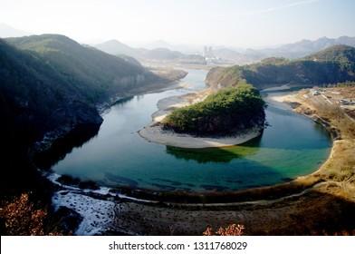 topography of the korean peninsula in summer.