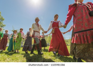 TOPOLNOE, ALTAY, RUSSIA - May 27, 2018: Folk festivities dedicated to the feast of the Holy Trinity. Ancient Russian rite: traditional dances.