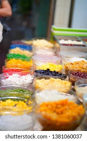 Topping with ice sweet in street food - Shutterstock ID 1381060037