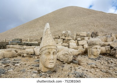 Toppled heads of the gods at the top of Nemrut in Turkey. The UNESCO World Heritage Site at Mount Nemrut where King Antiochus is reputedly entombed.