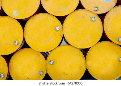 tops of barrels stacked in row