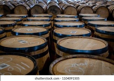Tops of Bourbon Barrels in storage room
