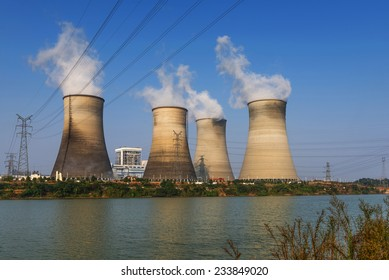 tops of cooling towers of atomic power plant