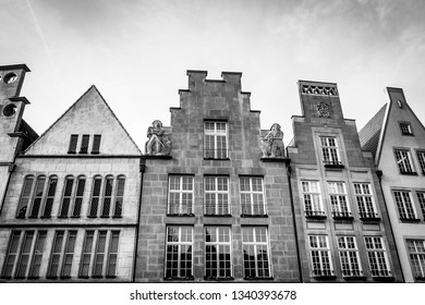 Tops of the facades of historic buildings in the center of Münster, Germany