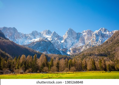 The tops of the mountains are covered with snow. Triglav national park. Slovenia, Europe