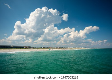 Topsail Beach, North Carolina, USA - 2020 July 2: The beautiful Beach of Topsail Beach with crystal-clear Water on a sunny Summer Day