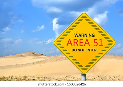 "Top-secret US Air Force base ""Area 51"". The mysterious military test area associated with UFO."