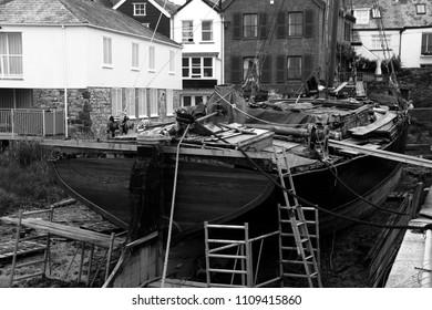 Topsham, Devon/England - July 15th 2015:Repair of Thames Barge 'Vigilant' under way at the Topsham yard in Devon