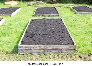 Topsoil filled Raised beds prepared ready for planting in a UK allotment