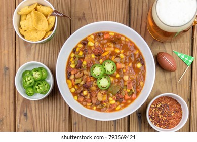 Topview of chili for Super Bowl football game
