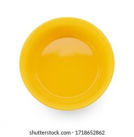 topview empty bowl on white background