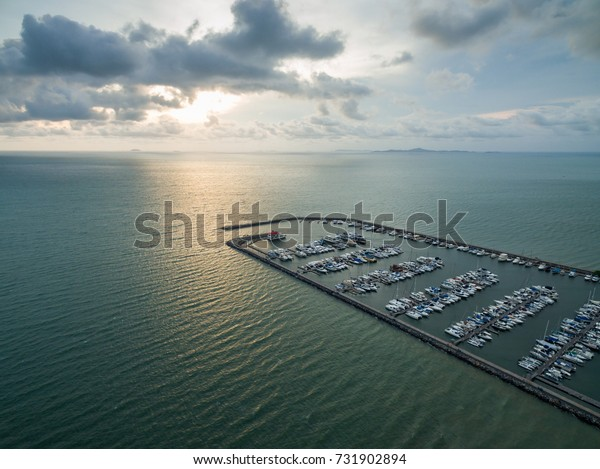Topview Marine station Luxury yachts and private boats seaport in Marine station complex , Pattaya City Chonburi province  , landscape Thailand