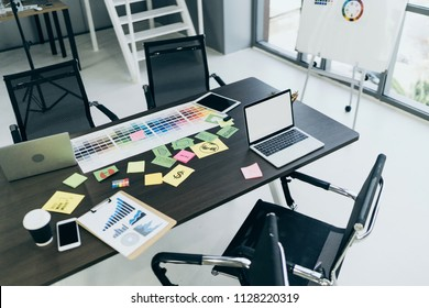 topview of office equipment with free copy space business ideas concept