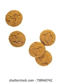 Topview of Pepernoten cookies as Sinterklaas decoration on white background